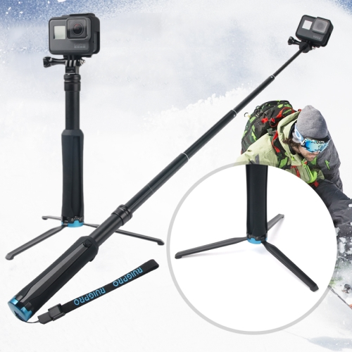Portable Foldable Tripod Holder Selfie Monopod Stick for GoPro HERO6 /5 Session /5 /4 Session /4 /3+ /3 /2 /1, Xiaoyi Sport Cameras, Length: 23.5-81cm
