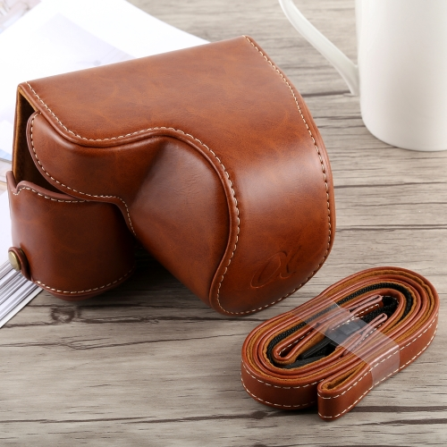 Camera Leather Full Body Camera PU Leather Case Bag with Strap for Sony A6300 Camera Cases Black Color : Brown