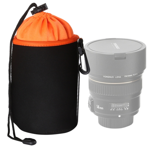 SLR Camera Lens Bag Micro Single Lens Bag Lens Inner Bile Bag Waterproof Protective Case Plus Velvet Thickening, Diameter: 10cm, Height: 14cm(Orange)