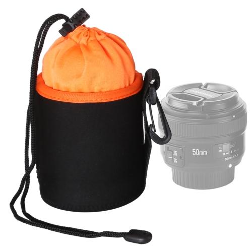 SLR Camera Lens Bag Micro Single Lens Bag Lens Inner Bile Bag Waterproof Protective Case Plus Velvet Thickening, Diameter: 8.5cm, Height: 10cm(Orange)