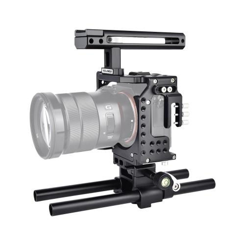 YELANGU CA7 YLG0908A-A Handle Video Camera Cage Stabilizer for Sony A7K & A7X & A73 & A7S & A7R & A7RII & A7SII(Black)