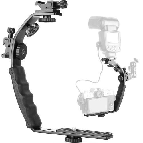 L-Shaped Aluminum Flash Bracket Camera Holder (Black)