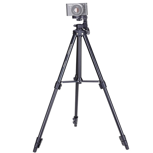 YUNTENG VCT-680RM 4-Section Folding Legs Aluminum Alloy Tripod Mount with Three-Dimensional Tripod Head for DSLR & Digital Camera, Adjustable Height: 46-138cm (Black)
