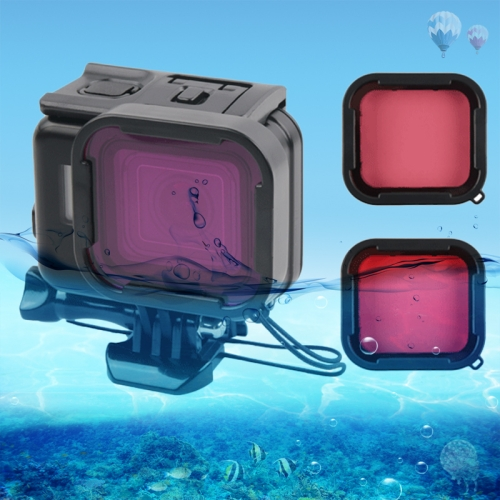 45m Waterproof Housing Protective Case + Touch Screen Back Cover for GoPro NEW HERO /HERO6 /5, with Buckle Basic Mount & Screw & (Purple, Red, Pink) Filters, No Need to Remove Lens (Black)