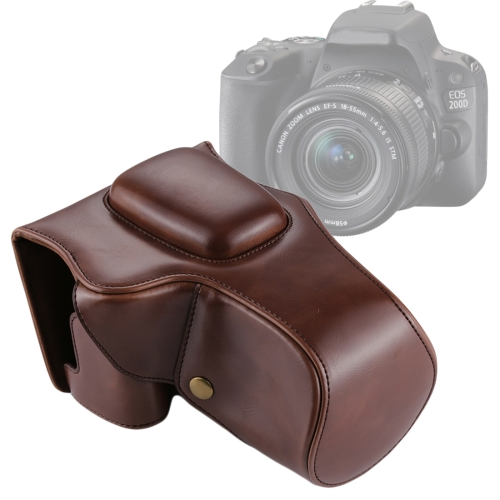 Buy Full Body Camera PU Leather Case Bag for Canon EOS 200D  (18-55mm Lens), Coffee for $13.53 in SUNSKY store