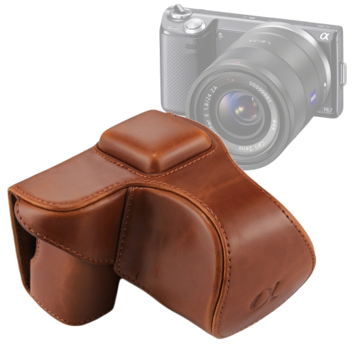 Color : Brown Full Body Camera PU Leather Case Bag with Strap for Sony A5100 Black