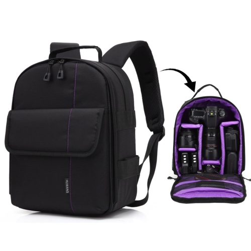 Buy HUWANG Portable Waterproof Scratch-proof Polyester Surface Material Dual Shoulders Backpack Outdoor Sports Camera Bag, Purple for $12.43 in SUNSKY store