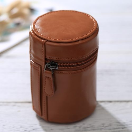 CAOMING Small Lens Case Zippered PU Leather Pouch Box for DSLR Camera Lens Color : Black 11x8x8cm Durable Size