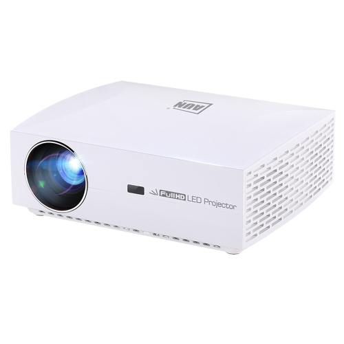 AUN F30 5.8 inch LCD Screen 5500 Lumens 1920x1080P Full HD Smart Projector with Remote Control, Support Audio out / SPDIF/ AV in / USB / HDMI(White)