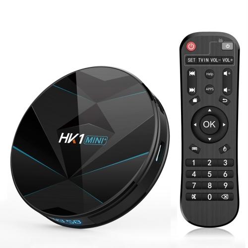 HK1MINI+ 4K HD Smart TV BOX,Android 9.0,RK3318 Quad-Core 64bit Cortex-A53 ,2GB+16GB, Support TF Card, HDMI, WIFI, AV, LAN, USB (Black)