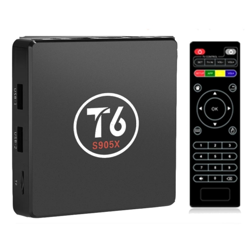 Buy T6 4K Ultra HD Smart TV BOX with Remote Controller, Android 7.1 Amlogic S905X Quad Core ARM Cortex-A53 2.0GHz, RAM: 1GB, ROM: 8GB, Supports WiFi, HDMI, TF, AV, RJ45 for $33.22 in SUNSKY store
