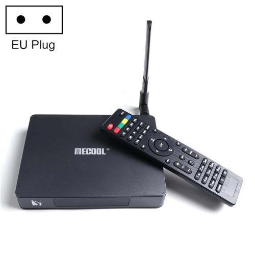 MECOOL K7 4K Ultra HD Smart Android 9.0 Amlogic S905X2 Quad core ARM Cortex-A53 TV Box with Remote Controller, RAM: 4GB, ROM: 64GB, Support WiFi, Bluetooth, HDMI, TF Card, LAN, EU Plug