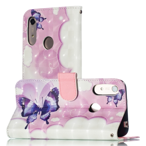3D Pattern Colored Drawing Horizontal Flip Leather Case for Huawei Y6 (2019) / Honor 8A, with Holder & Card Slots & Wallet & Lanyard(Swallowtail Butterfly)