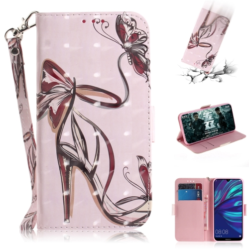3D Painting Pattern Coloured Drawing Horizontal Flip Leather Case with Holder & Card Slots & Wallet For Huawei Y7 Prime (2019) with Fingerprint / Y7 Pro (2019) / Enjoy 9(Butterfly High Heels)