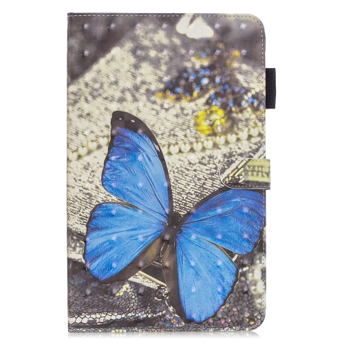 3D Horizontal Flip Leather Case with Holder & Card Slots For Galaxy Tab A 10.1 (2019)(Blue Butterfly)