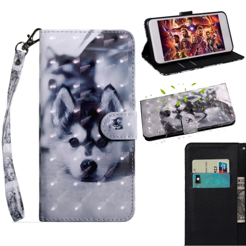 3D Painting Pattern Coloured Drawing Horizontal Flip TPU + PU Leather Case with Holder & Card Slots & Wallet For Alcatel 3C 5026D(Husky)