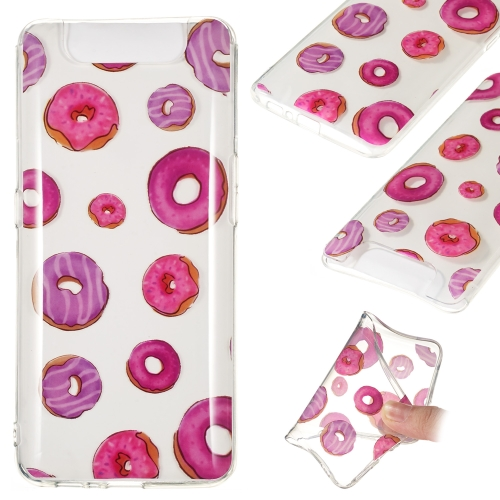 Coloured Drawing Transparent Clear TPU Case for Galaxy A80 / A90(Donut)