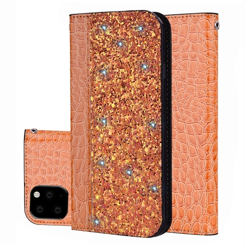Crocodile Texture Glitter Powder Horizontal Flip Leather Case with Card Slots & Holder for iPhone 11 Pro Max(Orange)