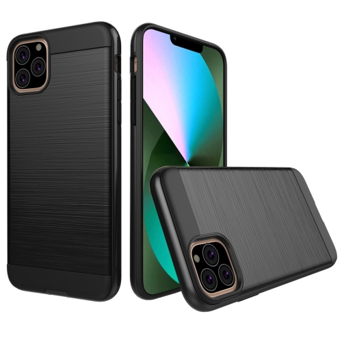 Brushed Texture Shockproof Rugged Armor Protective Case for iPhone 11 Pro Max(Black)