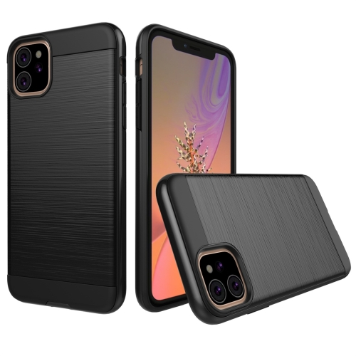 Brushed Texture Shockproof Rugged Armor Protective Case for iPhone 11(Black)