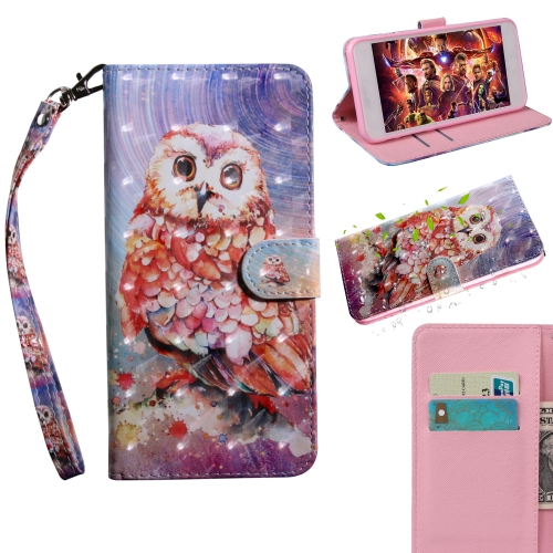 3D Painting Pattern Coloured Drawing Horizontal Flip TPU + PU Leather Case with Holder & Card Slots & Wallet For Huawei Y7 2019 / Y7 Pro 2019 / Y7 Prime 2019 / Enjoy 9(Color Owl)