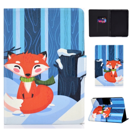 Colored Drawing Universal Voltage Craft Cloth TPU Protective Case, with Holder & Sleep / Wake-up Function & Card Slots & Anti-slip Strip for Amazon Kindle 2019(Red Fox)
