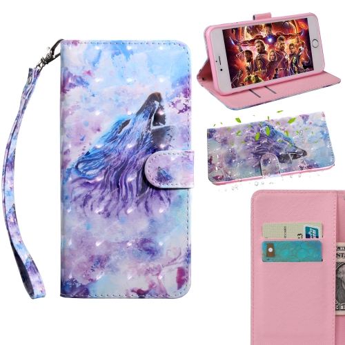 3D Painting Pattern Coloured Drawing Horizontal Flip TPU + PU Leather Case with Holder & Card Slots & Wallet, For:For Galaxy A40(Roaring Wolf)