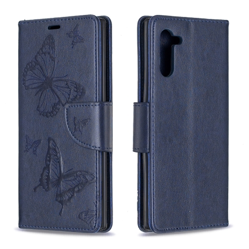Two Butterflies Embossing Pattern Horizontal Flip Leather Case with Holder & Card Slot & Wallet & Lanyard for Galaxy Note10(Dark Blue)