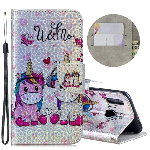 Dazzle Laser Coloured Drawing Horizontal Flip Leather Case with Holder & Card Slots & Wallet & Lanyard for Huawei P Smart (2019) / Honor 10 Lite(Two Unicorns)