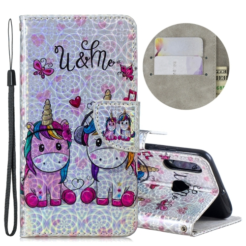 Dazzle Laser Coloured Drawing Horizontal Flip Leather Case with Holder & Card Slots & Wallet & Lanyard for Huawei P30 Lite / Nova 4e(Two Unicorns)