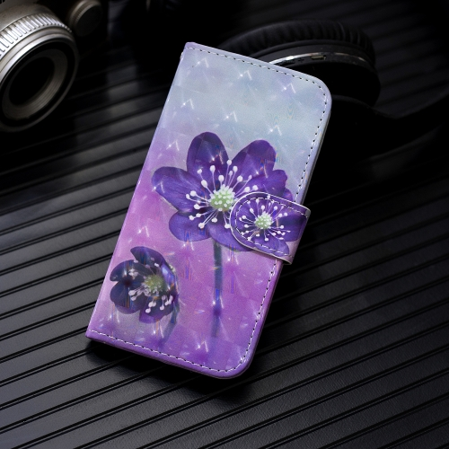 3D Painting Pattern Coloured Drawing Horizontal Flip PU Leather Case with Holder & Card Slots & Wallet For Galaxy S10(Purple Flower) фото