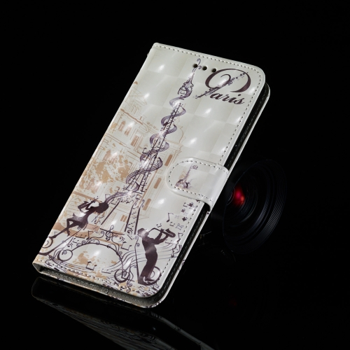 3D Painting Pattern Coloured Drawing Horizontal Flip PU Leather Case with Holder & Card Slots & Wallet For Galaxy A70(Eiffel Tower Couple)