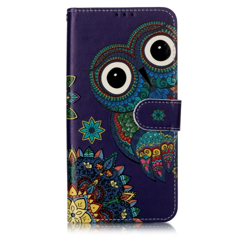 Oil Embossed Coloured Drawing Pattern Horizontal Flip PU Leather Case with Holder & Card Slots & Wallet & Photo Frame For Galaxy A10 / M10(Blue Owl)