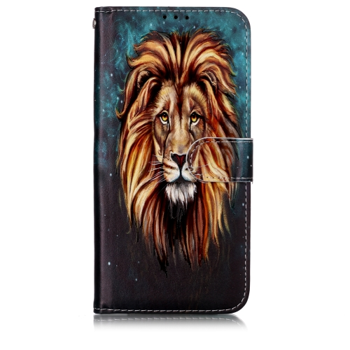 Oil Embossed Coloured Drawing Pattern Horizontal Flip PU Leather Case with Holder & Card Slots & Wallet & Photo Frame For Galaxy A20 / A30(Lion)