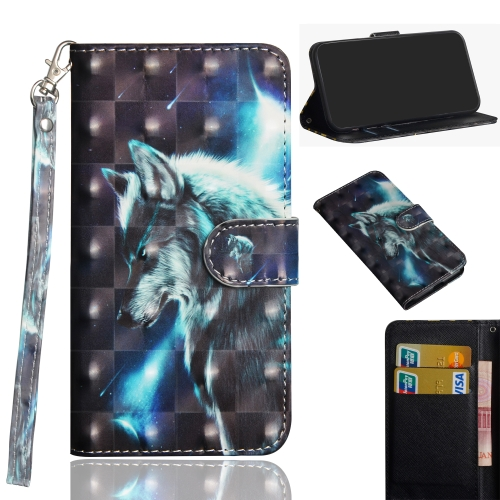 3D Painting Pattern Coloured Drawing Horizontal Flip TPU + PU Leather Case with Holder & Card Slots & Wallet for Huawei Honor 20 Lite(Walf)