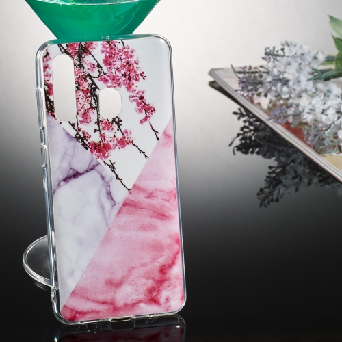 Coloured Drawing Pattern IMD Workmanship Soft TPU Protective Case For Galaxy A50(Wintersweet Marble)