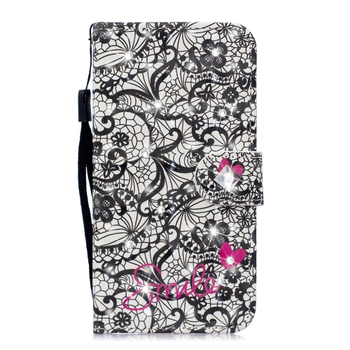 3D Diamond Encrusted Painting Pattern Coloured Drawing Horizontal Flip PU Leather Case with Holder & Card Slots & Wallet For Huawei Y6 (2019) / Y6 Pro (2019)(Lace Flower)