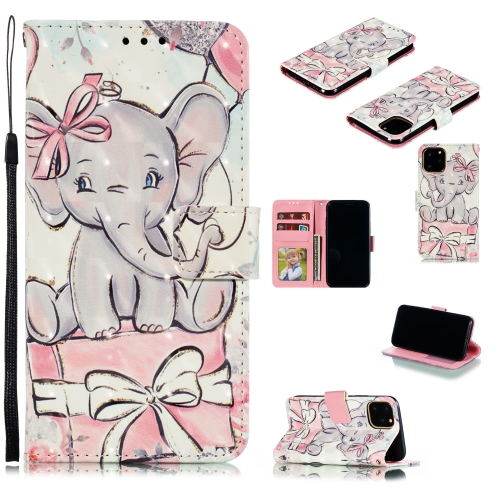 3D Painted Pattern Horizontal Flip Leather Case with Holder & Card Slot & Wallet & Photo Frame & Lanyard For iPhone 11 Pro(Butterfly Elephant)