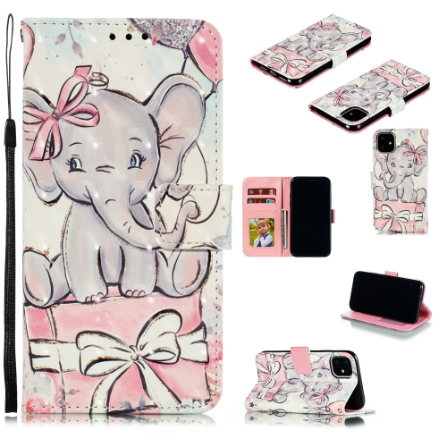 3D Painted Pattern Horizontal Flip Leather Case with Holder & Card Slot & Wallet & Photo Frame & Lanyard For iPhone 11(Butterfly Elephant)