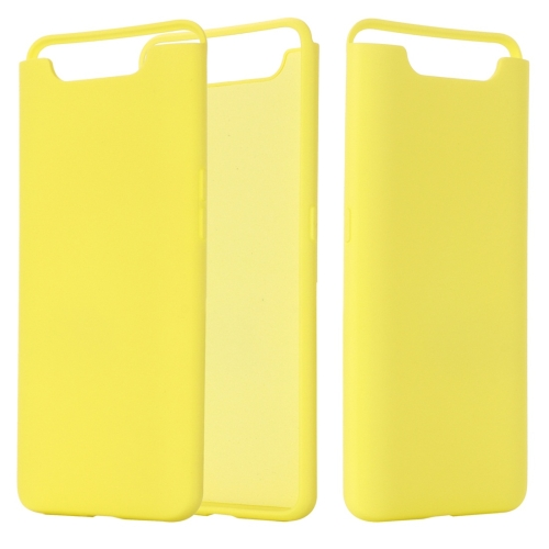 Solid Color Liquid Silicone Dropproof Full Coverage Protective Case for Galaxy A80 / A90(Yellow)