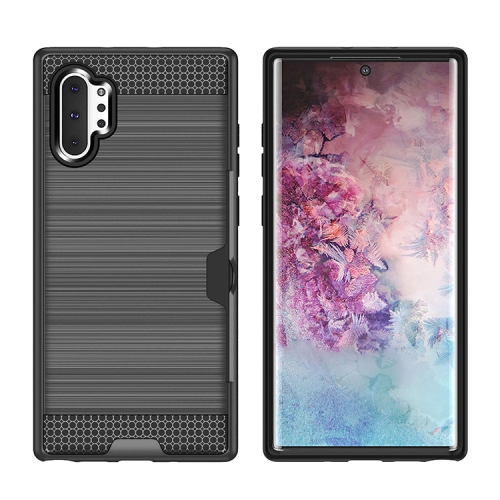 Ultra-thin TPU+PC Brushed Texture Shockproof Protective Case with Card Slot for Galaxy Note 10+(Grey)