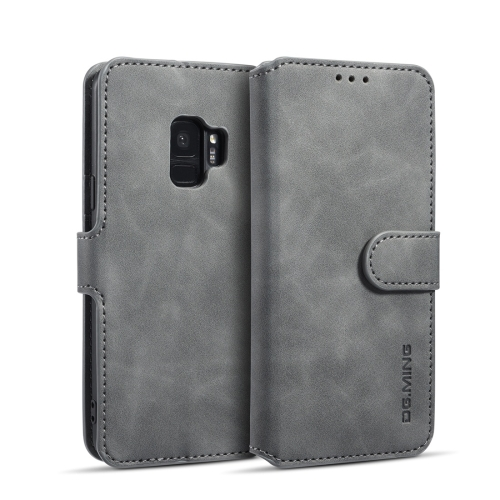 DG.MING Retro Oil Side Horizontal Flip Case with Holder & Card Slots & Wallet for Galaxy S9(Grey) фото
