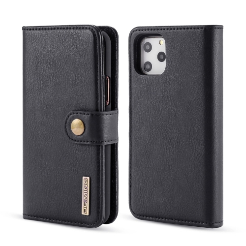 DG.MING Crazy Horse Texture Flip Detachable Magnetic Leather Case with Holder & Card Slots & Wallet for iPhone 11 Pro Max(Black)