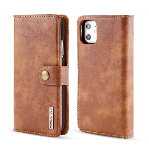 DG.MING Crazy Horse Texture Flip Detachable Magnetic Leather Case with Holder & Card Slots & Wallet for iPhone 11(Brown)