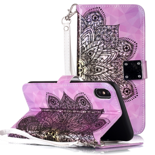 Magic 3D Bright Coloured Drawing Pattern Horizontal Flip PU Leather Case with Holder & Card Slots & Wallet & Photo Frame for iPhone X / XS(Half Mandala)