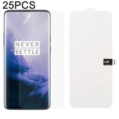 25 PCS Soft Hydrogel Film Full Cover Front Protector with Alcohol Cotton + Scratch Card for OnePlus 7 Pro