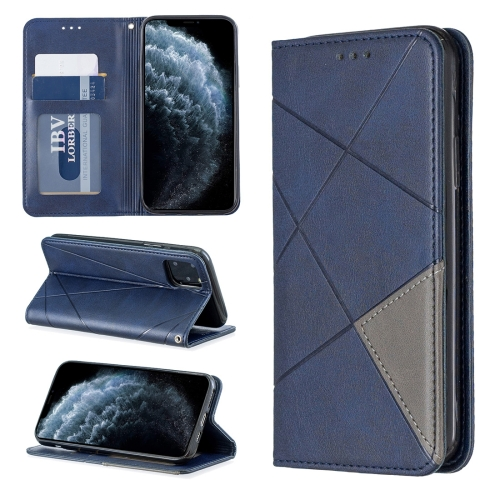Rhombus Texture Horizontal Flip Magnetic Leather Case with Holder & Card Slots & Wallet For iPhone 11 Pro(Blue)