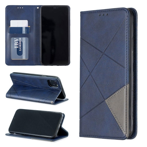 Rhombus Texture Horizontal Flip Magnetic Leather Case with Holder & Card Slots & Wallet For iPhone 11 Pro Max(Blue)