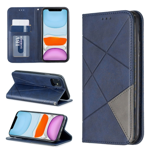 Rhombus Texture Horizontal Flip Magnetic Leather Case with Holder & Card Slots & Wallet For iPhone 11(Blue) фото