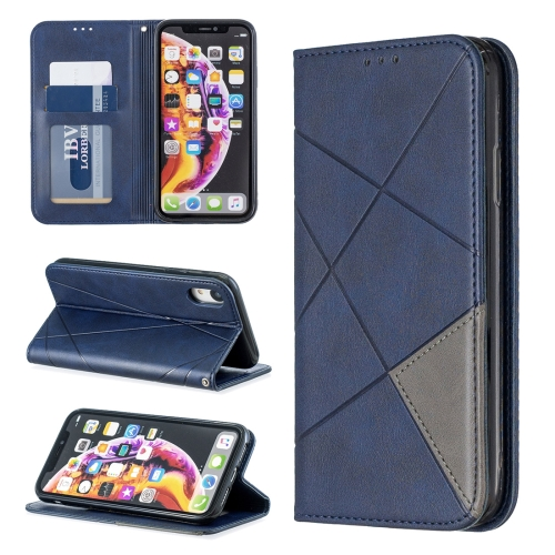 Rhombus Texture Horizontal Flip Magnetic Leather Case with Holder & Card Slots & Wallet For iPhone XR(Blue)